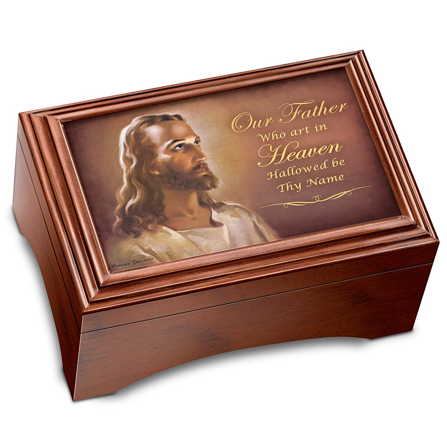 Image of Jesus, The Lord's Prayer Music Box with Wood Cross