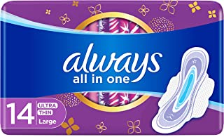 ALWAYS All in one Ultra Thin, Large sanitary pads with wings, 14 ct