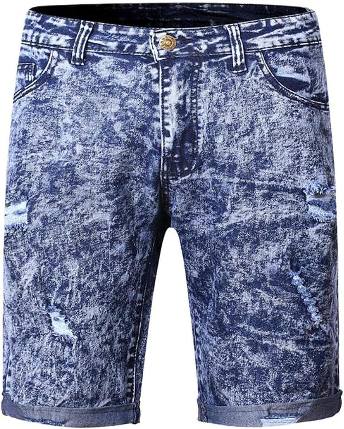 LLTT Mens Hardwearing Comfortable Trousers Summer Thin Denim Shorts with Holes