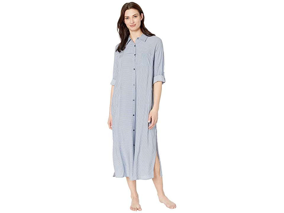 Donna Karan Maxi Sleepshirt (Petrol Stripe) Women