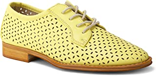 Wanted Shoes Women's Leah Perforated Cutout Lace-up Wingtip Oxford Shoe