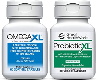 Bundle 2 Pack - Omega XL 60 Count Joint Pain Omega 3 Supplement + Probiotic XL with 11 Billion CFU 60 Count