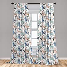 Ambesonne Llama Curtains, Children Cartoon Style Hand Drawn South American Animals Alpacas and Llamas Design, Window Treat...