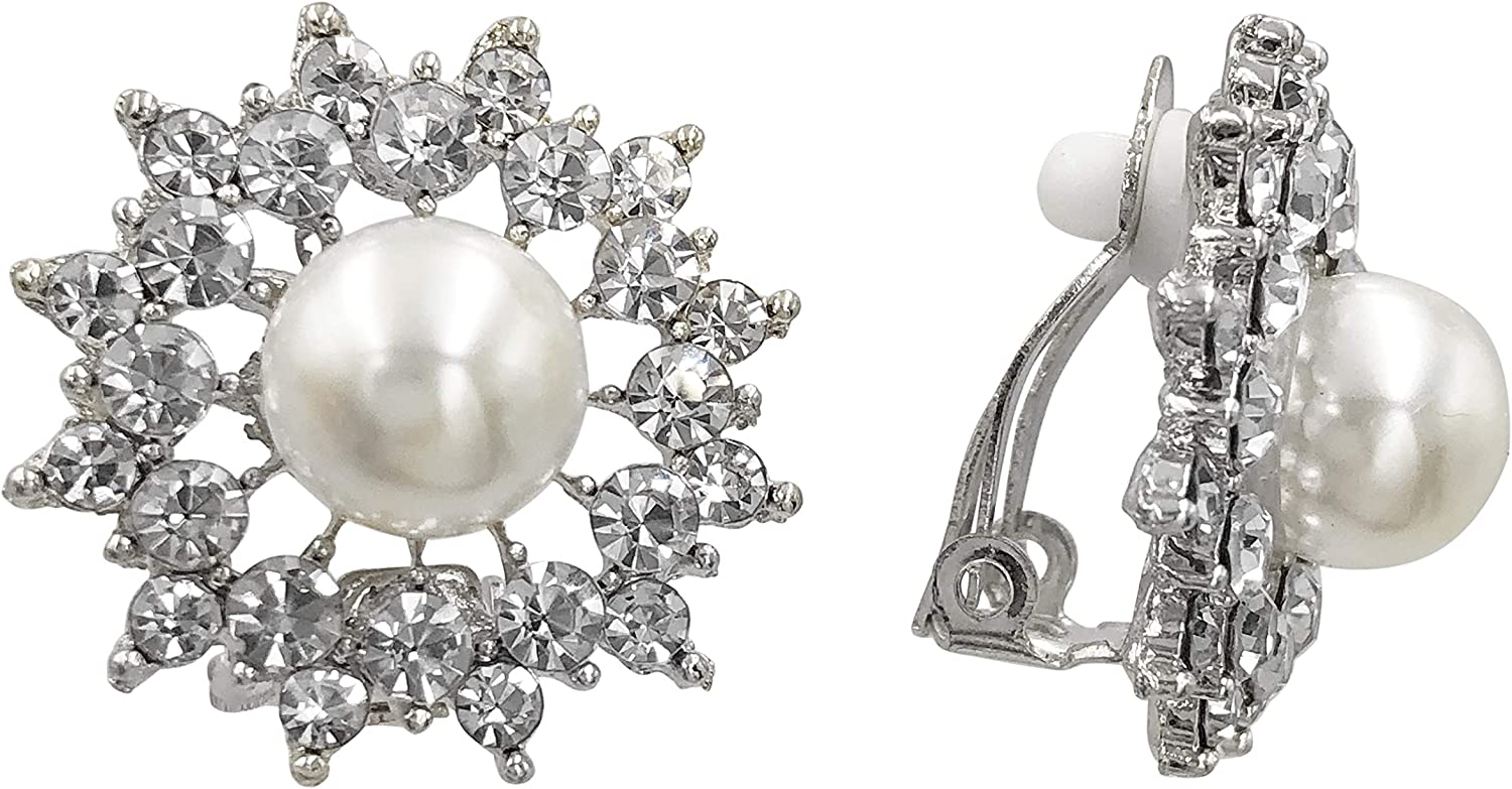 Simulated Pearl Rhinestone Starburst Fancy Formal Prom Clip On Earrings - Assorted Colors