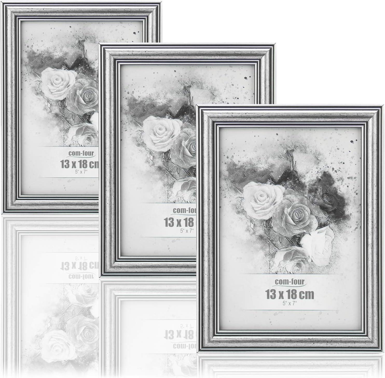 com-four® 3X Marcos de Fotos 13 x 18 cm para Las Fotos más Hermosas - Marco de Fotos Elegante - Marco para Fotos e instantáneas favoritas - Gran Idea para un Regalo