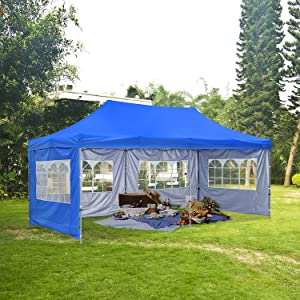 HYD-Parts Outdoor 10x20 Ft Pop up Canopy Party Tent,Wedding Gazebo Tents (Four sidewalls, Blue)