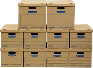 Bankers Box SmoothMove Classic Moving Kit Boxes, Tape-Free Assembly, Easy Carry Handles, 8 Small 2 Medium, 10 Pack (8816901)