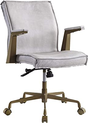 Acme Furniture Attica Executive Office Chair, Vintage White Top Grain Leather