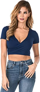 Womens Deep V-Neck Short Sleeve & Long Sleeve Sexy Slim Fitted Surplice Wrap Crop Top