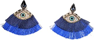Suzy Styles Evil Eye Statement Earrings Bedazzled with Sparkly Rhinestone Crystals – Trendy Symbolic Ornamental Nickel Fre...