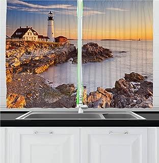 Ambesonne United States Kitchen Curtains, Cape Elizabeth Maine River Portland Lighthouse Sunrise USA Coast Scenery, Window Drapes 2 Panel Set for Kitchen Cafe Decor, 55