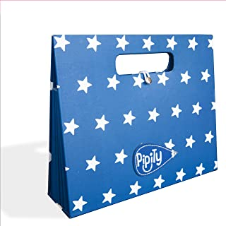 Pipity Half Letter Size Art and Craft Project Storage Portfolio for Kids. Portable Box File Organizer with 7 Expandable Accordion Pockets. Ideal Filing Folders. Blue Star