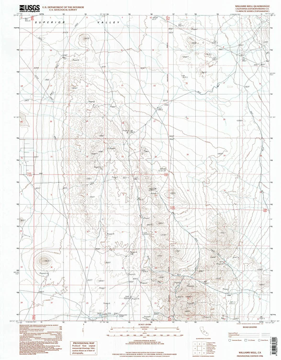 Williams Well CA topo map, 1 24000 Scale, 7.5 X 7.5 Minute, Historical, 1996, Updated 1998, 26.9 x 21.5 in