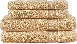 EuroSpa   Luxury 4 Piece Zero Twist Bath & Hand Towel Set   100% Cotton Quick Dry   Highly Absorbent Bathroom Towels   Ult...