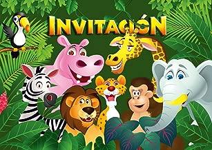 """Edition Colibri 10 Invitaciones en español """"Animales del ZOOLÓGICO"""": Juego de 10 Invitaciones para el cumpleaños Infantil en el zoológico / Parque Safari / casa en el Bosque lluvioso (10968 ES)"""