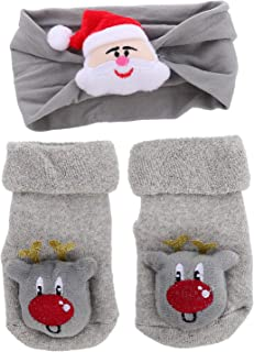 CLISPEED, Bebé Navidad Diadema Medias Nudo Suave Bebé Niña Diadema Invierno Calcetines de Algodón para Recién Nacidos Bebés Niños Pequeños Niño (Rojo)