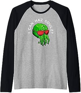 Cthulhu Monster Squid Octopus Wants Souls Raglan Baseball Tee