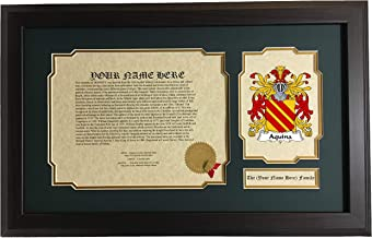 Aquino - Coat of Arms and Last Name History, 14x22 Inches Matted and Framed