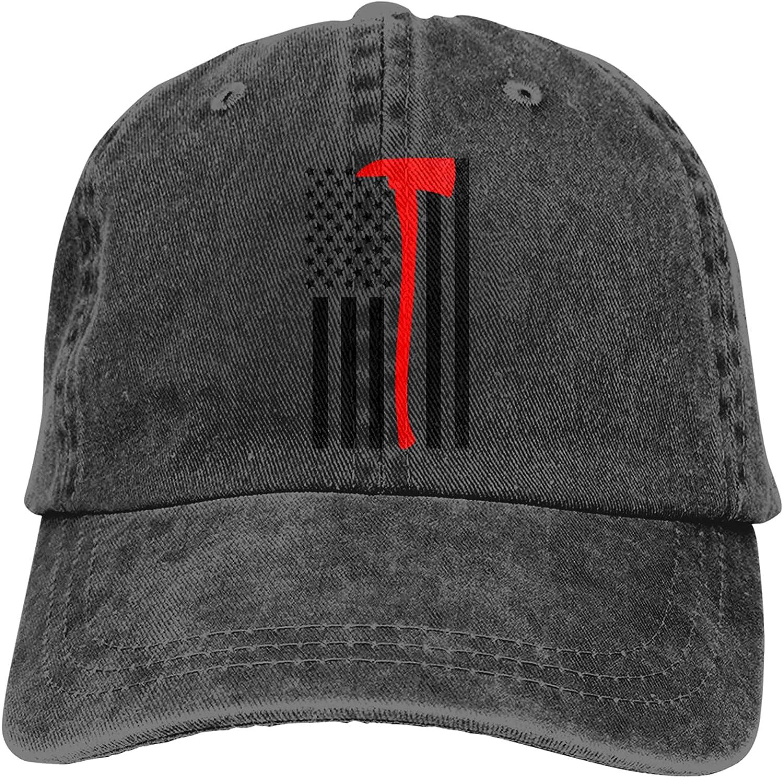 Firefighter Axe Red Line Flag Unisex Adjustable Cotton Baseball Hat Cowboy Cap Dad Hats Denim Trucker Hat