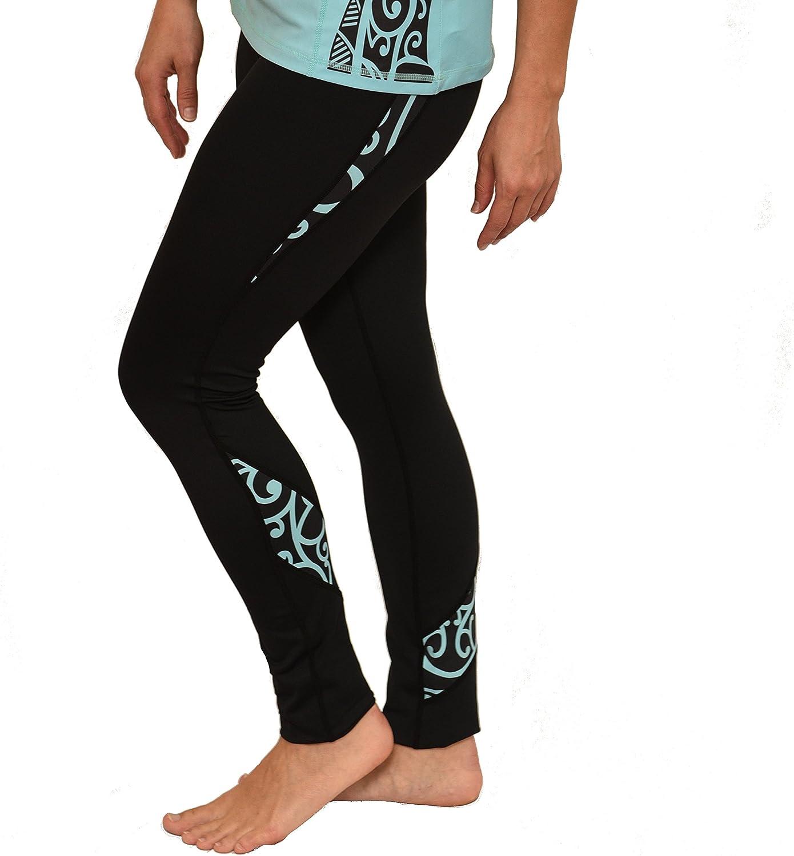 Ori Active Polynesian/Koru Maori Women's Long Black Yoga Pants/Leggings