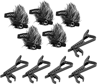 Movo MCW6 5-PACK of Lavalier Microphone Windscreen Muffs and Metal Crocodile Lapel Clips for 8.3mm Mic Capsules - Fits Movo LV-6, LV-6C and LV-6O