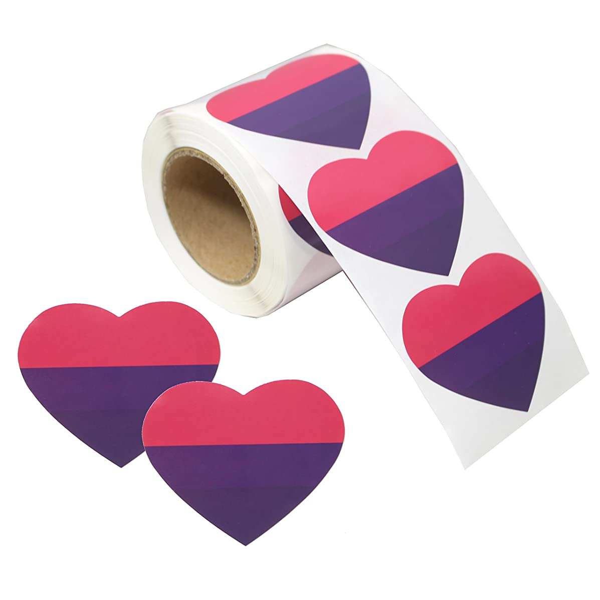 Love Pride Stickers Heart Shaped Roll Tape 250 Stickers Gay Pride Support LGBT (Heart - Bisexual)