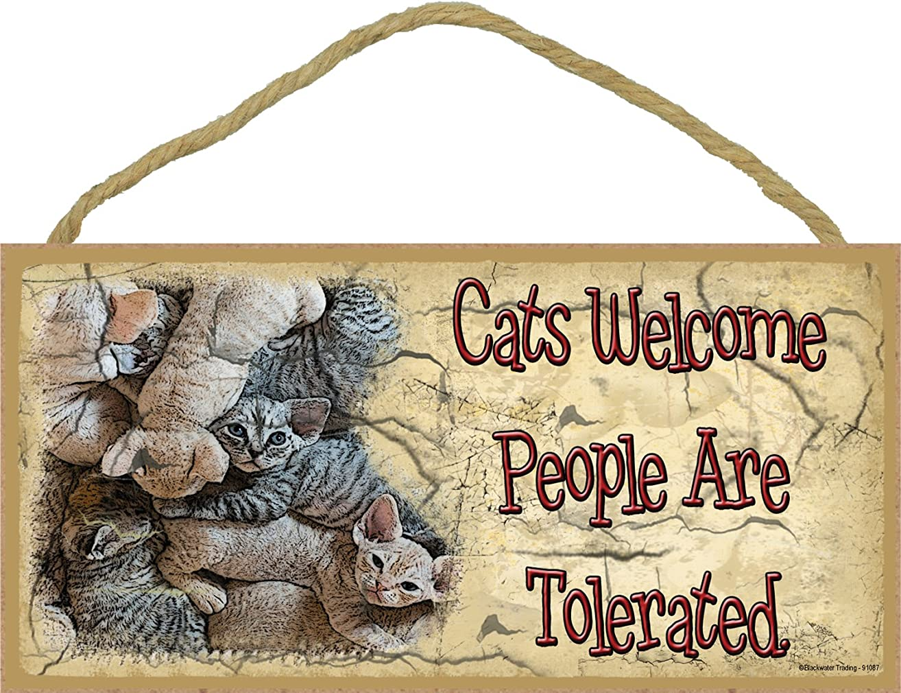 Blackwater Trading Cats Welcome People Are Tolerated Kitten Pile Kitty Cat Sign Plaque 5