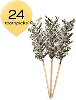 Simply Baked Frill Appetizer Toothpick, Metallic Silver Frill on Natural Wood Pick, 4-Inch, 24-Pack, Disposable and Sturdy