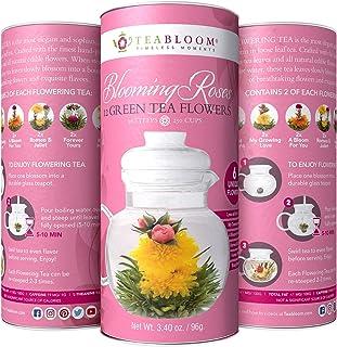 Teabloom Rose Flowering Tea – 12 Hand Tied Blooming Tea Flowers – 36 Steeps, Makes 250 Cups – Romantic Rose Tea Gift Set for Tea Lovers – Premium Handpicked Ingredients