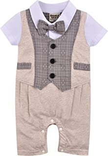 ZOEREA 1pc Kinder Baby Kleinkind Junge Kleidung Spielanzug Bodysuit Kleidung Gentleman Gesamtkind Sommer Kleidung Baumwolle Kurzarm Druck Babys Babys Taufe Hochzeit Weihnachten 0-24M