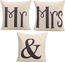 ChezMax Set of 3 Cushion Cover Pattern Printed Linen Flax Throw Pillow Case Square Pillowcase Pillowslip for Women Men Study Family Room Sofa Couch Chair Seat Back Art MR. & MRS. 43 X 43 cm