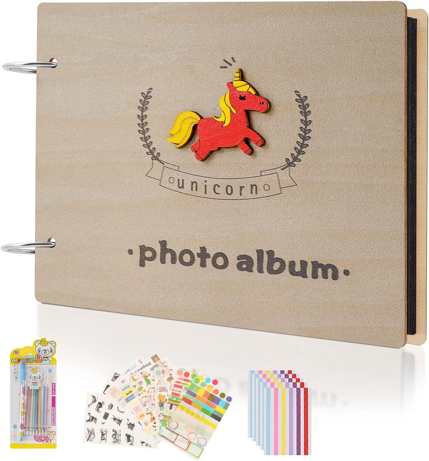 BIKIWO Photo Album Branded goods Scrapbook 60 Pages Paper Black Wooden Max 57% OFF Cover