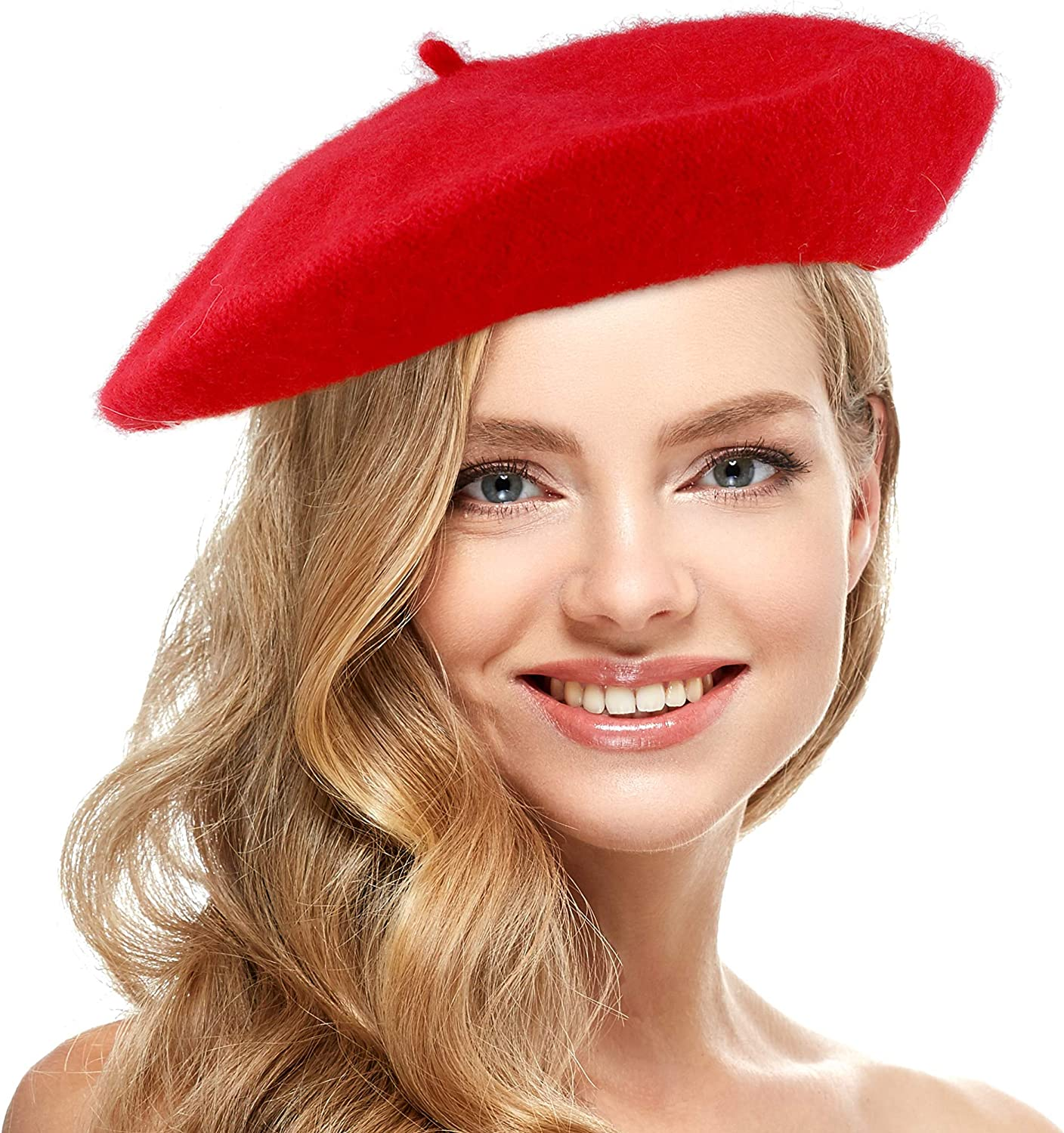 Skeleteen Red French Style Beret - Women's Classic Beret Hat for Casual Use - 1 Piece