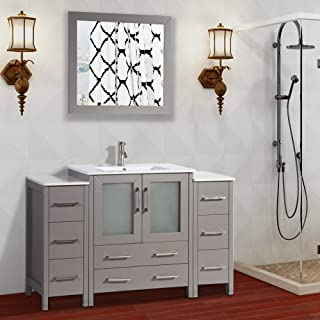 Vanity Art 54 inch Single Sink Bathroom Vanity Set Free Mirror - Compact 2 Door, 8 Drawer with White Ceramic Top   Perfect Bathroom Organizer (Gray) - VA3030-54-G