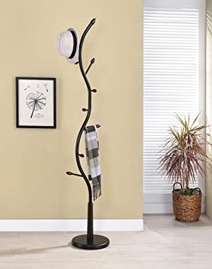 Kings Brand Furniture - Black Metal & Walnut Wood Hall Tree Coat & Hat Rack Stand
