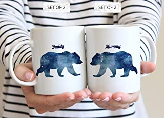 DKISEE Mug set, Daddy Bear Mug, Mummy Bear Daddy Bear, Mummy Bear Mug, Dad Bear Mug, Mum Bear Daddy Bear Mugs, Mummy Bear and Daddy Bear Mugs, Bear Mug Set, 15 Ounce Coffee Mugs Tea Cups, Set of 2