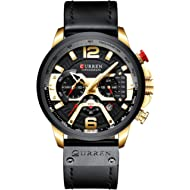 New Men Fashion Sport Chronograph Watch Stylish Business Casual Dress Quartz Leather Wristwatch...