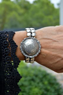 Bracciale donna vichinga in zama argento e pelle, gioielli moderni