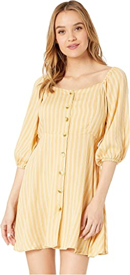 Long Sleeve Button Striped Dress