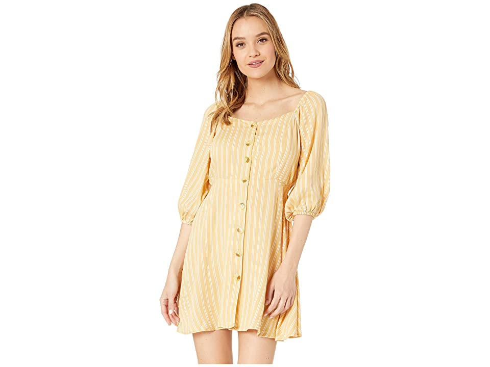 Angie Long Sleeve Button Striped Dress (Yellow) Women