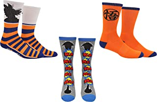 Dragon Ball Z Super Socks Gifts (3 Pair) - (1 Size) Dragon Ball Merchandise Cosplay Anime Crew Socks Women & Men's