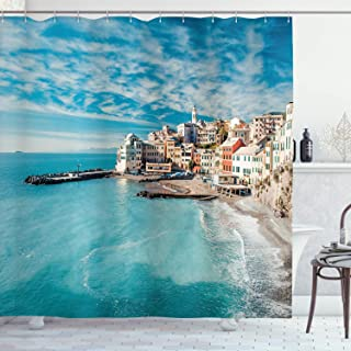 Ambesonne Italy Shower Curtain, Panorama of Old Italian Fishing Village Beach in Old Province Coastal Charm Image, Cloth Fabric Bathroom Decor Set with Hooks, 70