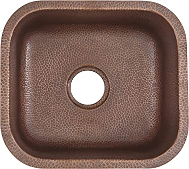 Sinkology SP503-18AC Transitional Sisley Pro Undermount Handmade 18.5 Antique Copper Bar Prep Sink