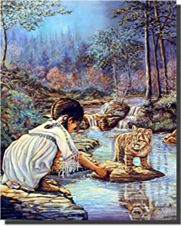 Native American Indian Girl with Cub Wall Decor Art Print Poster (16x20)