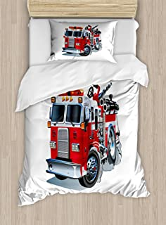 Ambesonne Truck Duvet Cover Set Twin Size, Fire Brigade Vehicle Emergency Aid for Public Firefighter Transportation Themed Lorry, Decorative 2 Piece Bedding Set with 1 Pillow Sham, Grey Red