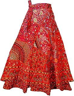 Bhavyansh Udhyog Women's Cotton Wrap Long Rajasthani Jaipuri Print Skirt