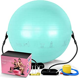 PACEARTH Exercise Ball for Home Gym Office Thick Yoga Ball Chair with Resistance Bands and Quick Pump Anti-Burst Heavy Dut...
