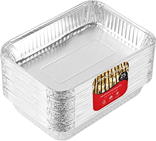 Aluminum Drip Pans (25 Pack) Weber Grill Compatible Drip Pans - Disposable Grease Catch Trays - Grill Drip Pan Liners to Catch Grease - BBQ Drip Pan - 7.5 x 5