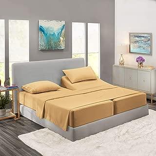 Nestl Bedding Soft Sheets Set – 5 Piece Bed Sheet Set, 3-Line Design Pillowcases – Easy Care, Wrinkle Free – 2 Fit Deep Pocket Fitted Sheets – Free Warranty Included – Split King, Gold