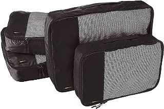 AmazonBasics 4 Piece Packing Travel Organizer Cubes Set - 2 Medium and 2 Large, Black
